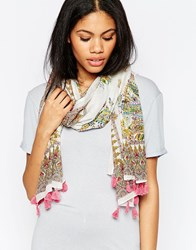 Yumi Lightweight Floral Paisley Print Scarf Pink