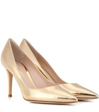 Gianvito Rossi Metallic Leather Pumps Gold