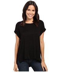 Michael Stars Romy Rayon Roll Sleeve Crew Neck Tee Black Women's T Shirt