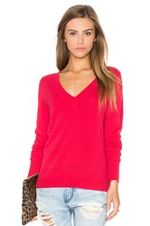 White Warren Rib V Neck Sweater Red