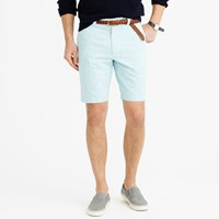 J.Crew 9' Stanton Short In Teal Striped Cotton Linen