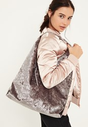 Missguided Grey Velvet Slouch Tote Bag