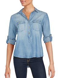 Saks Fifth Avenue Red Angelique Button Down Jean Top Fade