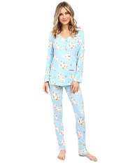 Bedhead Long Sleeve Classic Henley Pajama Set Road Trip Women's Pajama Sets Neutral