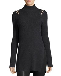 Marled By Reunited Lattice Shoulders Turtleneck Tunic Charcoal