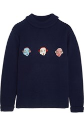 Shrimps Hunk Appliqued Wool Sweater Navy