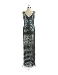 Basix Ii Mirrored Sequin Gown Gunmetal