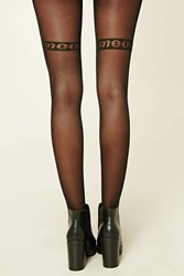 Forever 21 Meow Graphic Reversible Tights Black