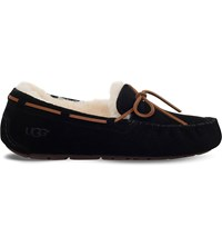 Ugg Dakota Sheepskin Lined Suede Loafers Black