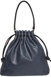 Clare V. V Grand Henri Maison Textured Leather Shoulder Bag Navy