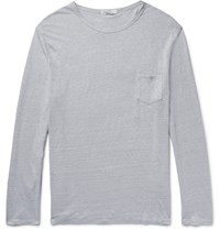 Onia Chad Slim Fit Knitted Slub Linen T Shirt Gray