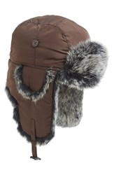 Men's Nathaniel Cole Genuine Rabbit Fur Lined Aviator Hat Brown