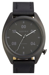 Electric Eyewear 'Ow01' Leather Strap Watch 40Mm Black
