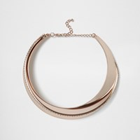 River Island Womens Rose Gold Tone Swirl Pave Necklace
