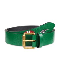 Gucci Snake Print Leather Belt Green
