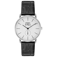 Rotary Gs90050 02 Men's Les Originales Kensington Leather Strap Watch Black White