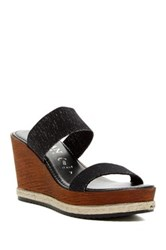 Italian Shoemakers Dual Strap Wedge Sandal Black