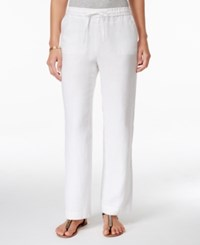 Charter Club Petite Linen Drawstring Pants Only At Macy's Bright White
