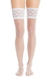 Women's Charnos Lace Stay Up Thigh High Stockings Ivory