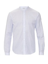 Gieves And Hawkes Stand Collar Striped Cotton And Linen Blend Shirt Light Blue