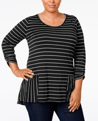Ny Collection Plus Size Peplum Striped High Low Top Noir Candy