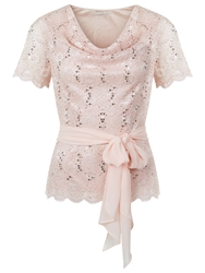 Jacques Vert Cowl Neck Stretch Lace Top Light Pink