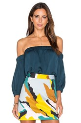 Milly Silk Off The Shoulder Blouse Teal