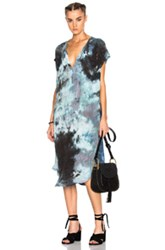 Raquel Allegra Shirred Combo Dress In Blue Ombre And Tie Dye Blue Ombre And Tie Dye