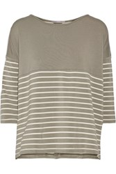 Tart Collections Anaia Striped Stretch Modal Top Green