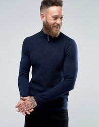 Ted Baker Textured Knitted Jumper With Zip Neck Navy