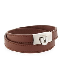 Salvatore Ferragamo Men's Leather Double Wrap Bracelet Brown