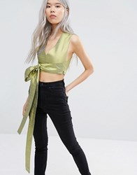 Weekday Press Pack Double V Top With Tie Front Yellow