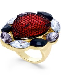 Thalia Sodi Gold Tone Red Lace Crystal Ring Only At Macy's