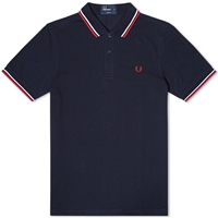 Fred Perry Slim Fit Twin Tipped Polo Navy White And Red