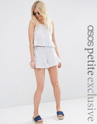 Asos Petite Exclusive Textured Beach Short Co Ord Pale Blue Multi