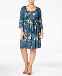 American Rag Trendy Plus Size Smocked Dress Only At Macy's Dark Denim Combo