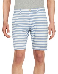 Ben Sherman Cotton Striped Shorts Oxford Blue