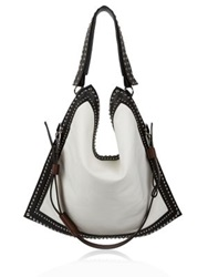 Givenchy Canvas And Studded Waxy Leather Messenger Bag White Black