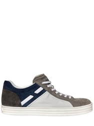 Hogan Rebel Color Block Suede And Papirok Sneakers White Grey