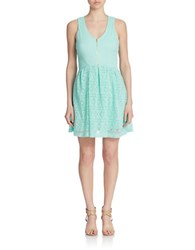 Guess Lace Zip Front Fit And Flare Dress Mint