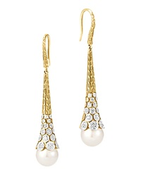 John Hardy Dot 18K Yellow Gold Diamond Pave Earrings With Cultured Freshwater Pearls
