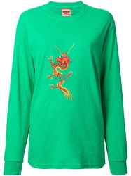 Growing Pains Embroidered Dragon T Shirt Green