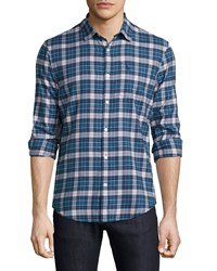 Penguin Long Sleeve Classic Fit Poplin Shirt In Herringbone Print Legion Blu