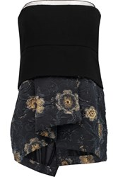 Donna Karan Asymmetric Wool Blend And Jacquard Bustier Black