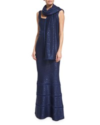 Sequined Knit Wrap Sapphire Blue St. John Collection