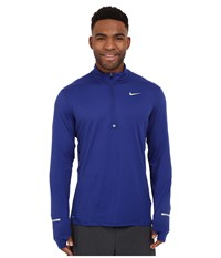Nike Dri Fit Element Half Zip Pullover Deep Royal Blue Reflective Silver Men's Long Sleeve Pullover