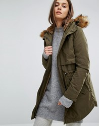 Parka London Lara Classic Jacket With Faux Fur Lined Hood Khaki Green