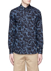 Marni Marble Print Cotton Poplin Shirt Blue