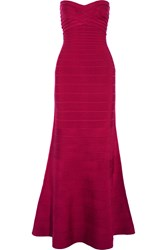 Herve Leger Strapless Bandage Gown Red