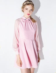 Pink Jeweled Collar Fit And Flare Dress